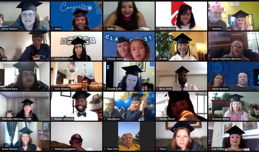 Screen capture of graduates during Yorkville's virtual graduation