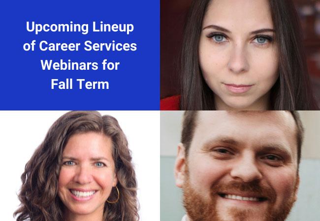 Career Services promo for fall webinars
