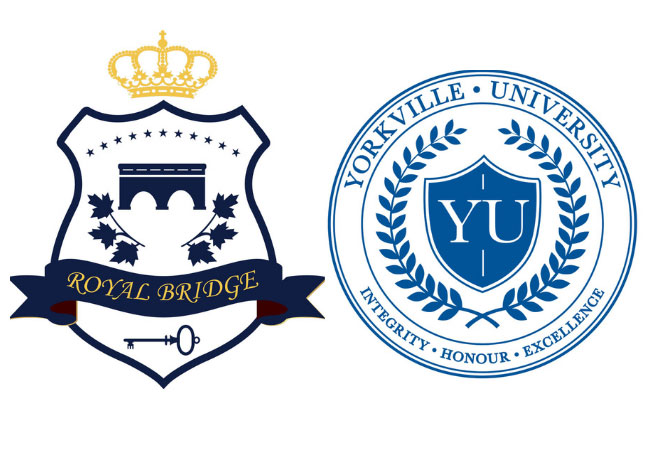 Yorkville University and Royal Bridge College logos